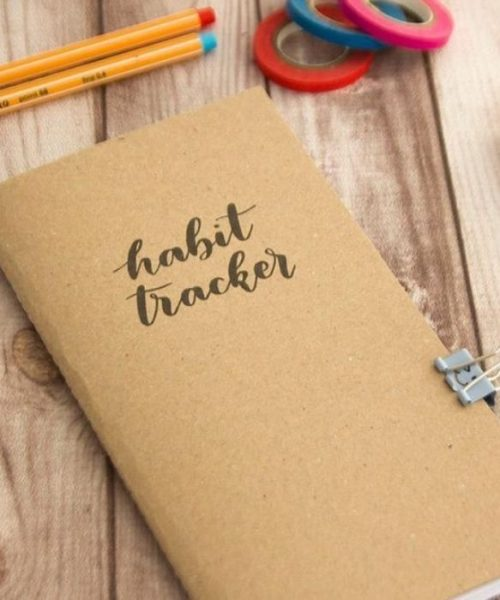 Gift Guide for Health and Fitness Lover_Habit Tracker Book in natural material