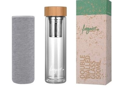 Gift Guide for Health and Fitness Lover_Tea Tumbler in glass with wooden lid and grey bag