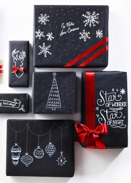 black christmas packaging with customized white images and red bows