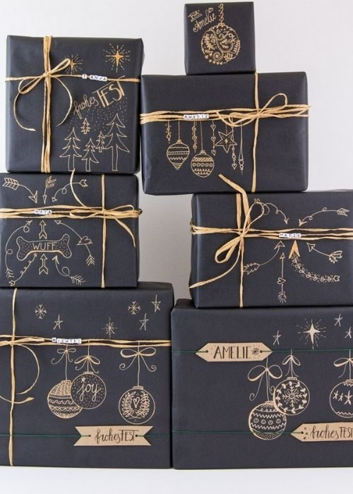 black christmas packaging with golden customized writing and bows