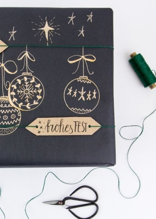 black christmas packaging with golden paper messages