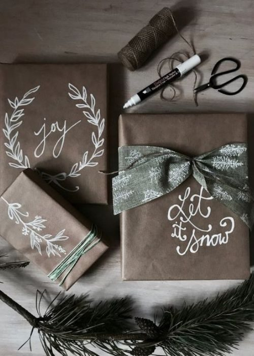 Christmas Gift Wraps_brown christmas packaging with customized white images and green bows