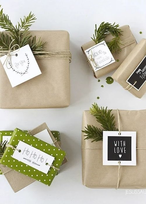 sustainable and green christmas packaging with natural ribbon and individual messages