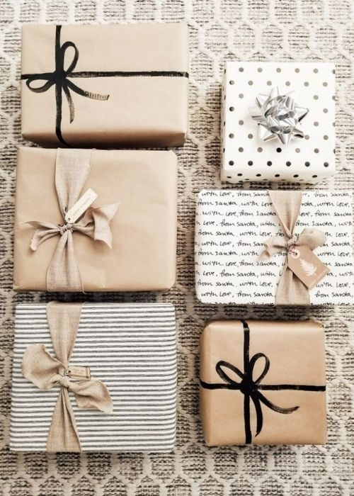 classic elegant christmas packaging with stripes and black and natural ribbon