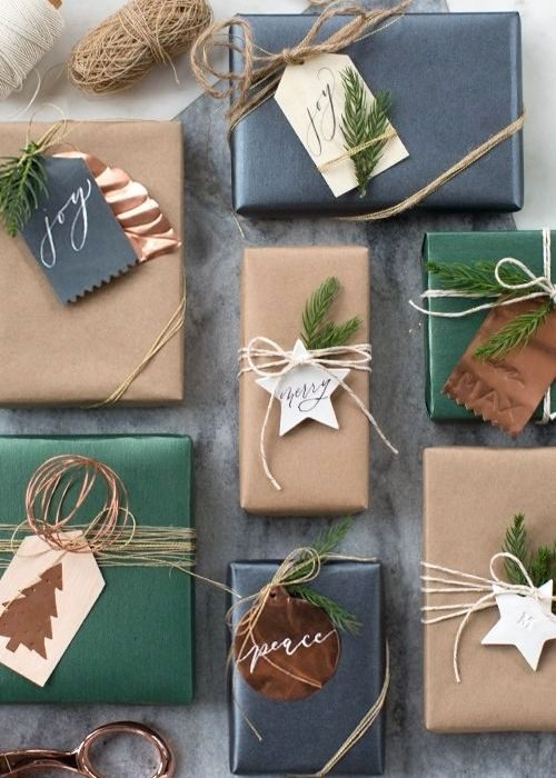 natural black and green christmas packaging with stars and name tags