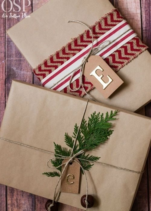 sustainable christmas packaging with natural and red-white robe and branches