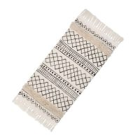 Boho Carpet_white and beige with black pattern and fringes