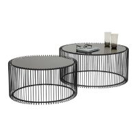 Black and white Interior_Coffee Table Set_Two Black Round Tables in Different Sizes_Black Metal