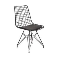 Black and white Interior_Minimalist Black Wire Chair with Black Cushion
