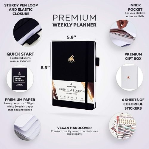Productivity Planner_Clever Fox Weekly Planner black_Premium Edition_Inside_1