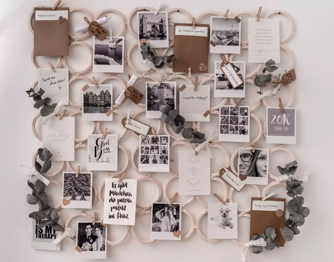 Vision Board_Mood Board_Analog Board with Photos and Leaves
