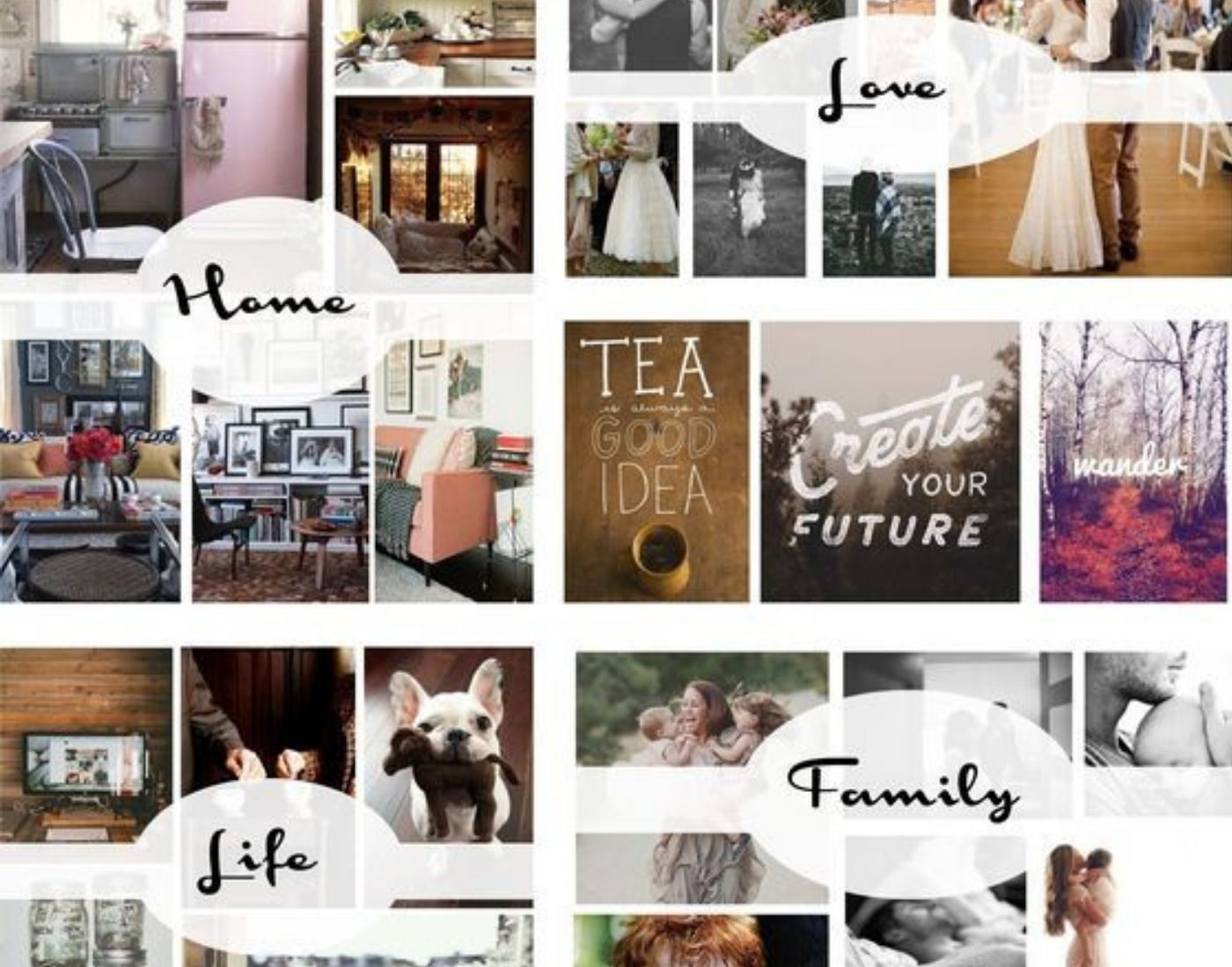 Vision Board_Mood Board_Digital Board with Areas of Life