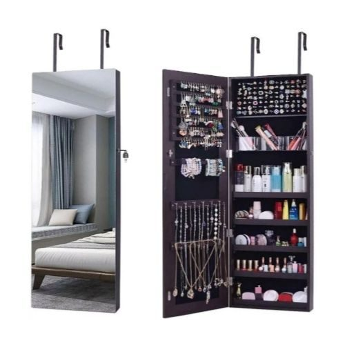 Mirror with Accessory Rack_Accessory compartments_black