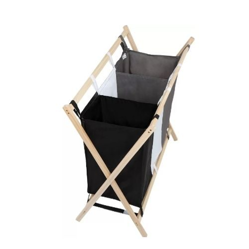 Laundry Basket_Three compartments_wooden stand_black_grey_white