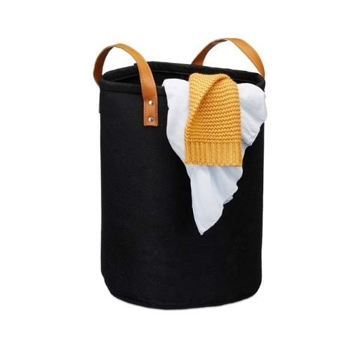 Laundry Basket_fabric_black_brown leather handles