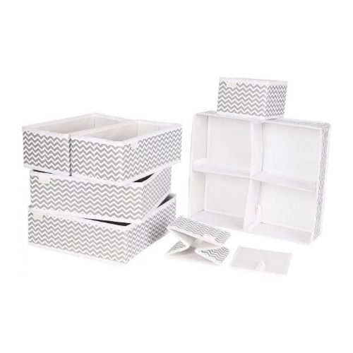 Storage Boxes_Ikea Style_Compartment Separator Box_different sizes_white with grey pattern