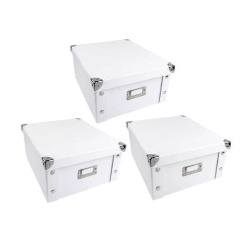 Three Storage Boxes_Ikea Style_white with silver details
