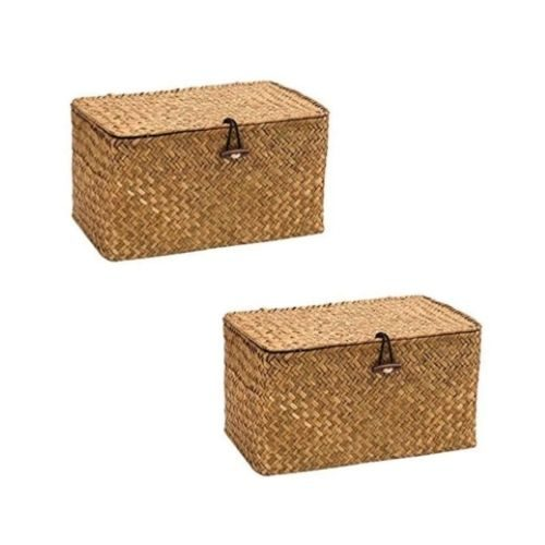 Two Storage Boxes_braided_natural brown