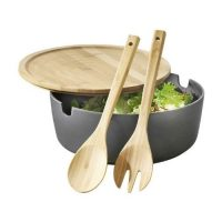 Kitchen Essentials_grey Mixing Bowl with wooden Lid and Cutlery